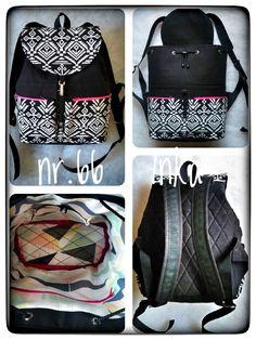 Black jean backpack, folk fabric backpack, black-white-pink color backpack, fully cotton lining