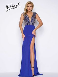 Sapphire prom dress with plunging V-neck and geometric beaded bodice | Mac Duggal 66048M