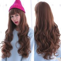 Fashion Women Deep Brown Curly Wavy Long Daily Hair Full Wig Cosplay Costume