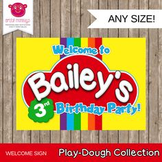 Personalised and Printable Play Doh Inspired Party Welcome Sign by ArtfulMonkeys on Etsy (null)