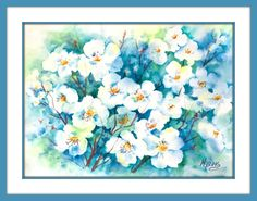 PEAR BLOSSOMS Watercolor - Purchase Info Do you have those days when you are filled with energy and all pumped up and read. Pear Blossom, Cherry Blossom, Watercolor Paper, Watercolor Paintings, Watercolors, Le Jolie, Winter Solstice, Art Studios, Painting Frames