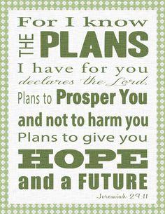 free printable bible verse clip art | ... Art Bible Verse -Jeremiah 29:11- Christian Wall Art Decor- You Print