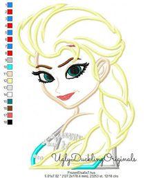 Frozen Elsa Princess Machine Embroidery Applique by UDOappliques