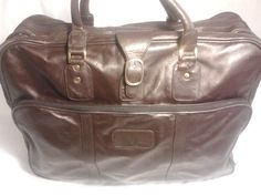KLUGE Brown Leather Travel Bag, Carry On with Garment Bag Section  #KLUGE. $50.15