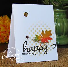 Fall KISS Birthday Card. Like the blended stenciled background.