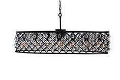 Cassiel 30 Inch Oval Crystal Chandelier, Black | Light Up My Home - LightUpMyHome.com