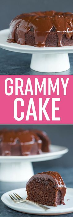 Grammy Cake - This old-fashioned chocolate cake is baked in a tube pan, comes out extremely moist, and is covered in decadent chocolate ganache. Old Fashioned Chocolate Cake, Dessert Crepes, Decadent Chocolate, Chocolate Ganache, Chocolate Desserts, Baking Chocolate, Chocolate Lovers, Pound Cake, Just Desserts