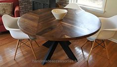 Chevron Dining Room Table with X Base  Check It Out Now     $999.00    Hello and thank you for looking! This handmade tabletop is made of walnut wood, the table pictured is 60″ in diamete ..  http://www.handmadeaccessories.top/2017/04/01/chevron-dining-room-table-with-x-base-2/
