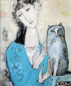 """The girl and grey cat"" by Tatyana Groshunova"