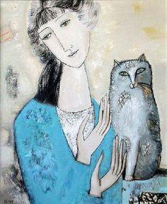 """The girl and grey cat"" by Tatyana Groshunova"