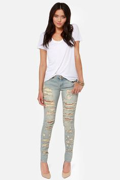 Blank NYC Skinny Classique Destroyed Light Wash Skinny Jeans