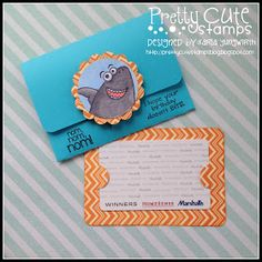 Creative Love Affair: Pretty Cute Stamps March Challenge - Anything But A Card! A diecut SVG gift card holder cut with the Cricut Explore and decorated using the Jawsome stamp set!