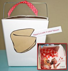 Deliver Good Fortune! Such a simple idea to deliver a gift card inside a take-out box. I take it a step further and customize the fortune on the outside.