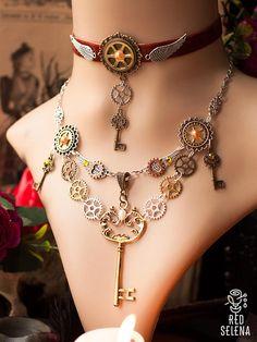 Steampunk Jewelry set, Steampunk bracelet choker key necklace gear earrings, Victorian Jewelry set