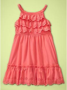 """Beautiful spring or summer halter dress, in a lovely coral color. I love the scallops and eyelet lace. I would pair it with the Hannah flower hair clip, in """"Coral Rose"""" http://www.bittybowsboutique.com/hannah.-sheer-organza-flower-clip.-16-colors..html ."""