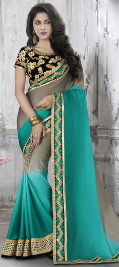 183028: Black and Grey, Blue color family Embroidered Sarees, Party Wear Sarees with matching unstitched blouse.