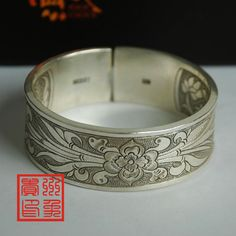 Handmade jewelry bangle 100g Sterling Silver Hand Carved Mandarin Duck and flower Bracelet