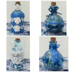 Victorian Dolls, Victorian Traditions, The Victorian Era, and Me: My Pretty Mixed Media Paper Flowers and Collage Embellished Bottles Victorian Flowers, Victorian Dolls, Victorian Era, Black Acrylic Paint, Craft Stash, Floral Ribbon, Puffy Paint, Creative Embroidery, Glitter Paint