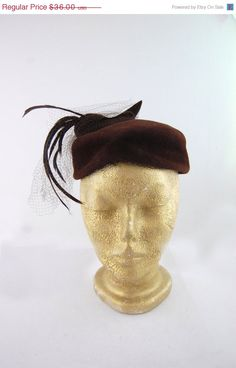ON SALE NOW 1950s Brown Felt Hat  by FrocksnFrillsVintage on Etsy