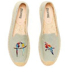 Buy Soludos Embroidered Parrot Espadrilles, Chambray Online at johnlewis.com