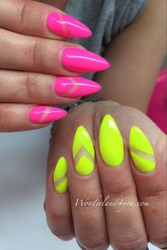 by Daria Michalska, Follow us on Pinterest. Find more inspiration at www.indigo-nails.com #nailart #nails #indigo #yellow #neon