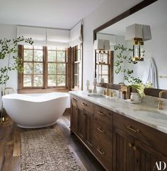 BATH - bathroom interior design and decor inspiration A Cozy and Chic Rustic Retreat modern bathroom Architectural Digest, Bathroom Interior Design, Home Interior, Restroom Design, Interior Colors, Home Design, Design Ideas, Rustic House Design, Design Trends
