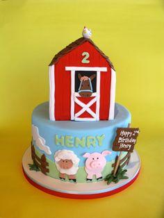 Barn, animal birthday cake, kid's birthday, barn theme, farm theme, cute chicken
