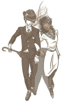 1940s Nico di Angelo and Hazel Levesque / art by ink-and-roses