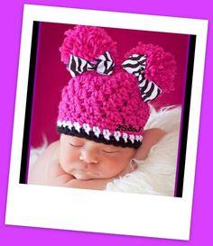 Crochet Hat with 2 pompom and 2 zebra bow by SubasJandSualyJShop, $15.00