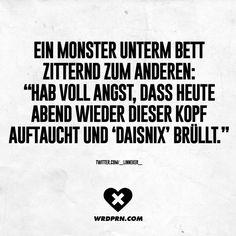 """Ein Monster unterm Bett zitternd zum anderen: """"Hab voll Angst, dass heute Abend…"""