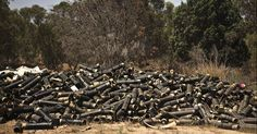 IDF mortar cases piled up near border of #Gaza. These shells were fired into Gaza by American made M107 Howitzers.