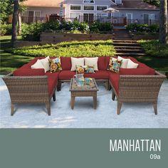 TKC MANHATTAN 9 Piece Outdoor Wicker Furniture Conversation Set 09a,  Terracotta