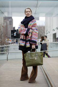 Knitwear Envy! #NYFW #StreetStyle WGSN Street Shot, New York...
