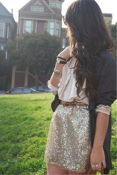 gold sequin skirt, ivory ruffle top, navy cardigan