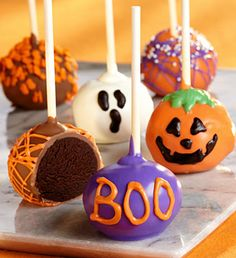 800Flowers.com  Decadent Halloween Truffle Cake Pops - Send spooky-sweet greetings to your favorite little monsters on Halloween! These 6 rich, dark and moist chocolate truffle cakes on a stick are so incredibly decadent, it's no surprise that celebrities love'em too.