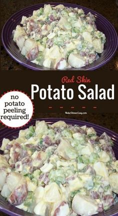The secret is using red skin potatoes for this easy potato salad recipe! No peeling needed