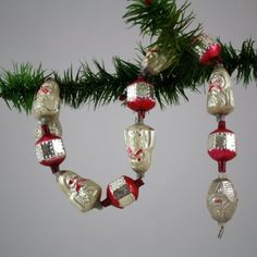 10 mercury glass bead candy canes  colorful vintage antique garland bead ornament hanging  atomic mid century Christmas
