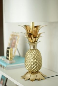 This gold pineapple lamp base is a two in one trendsetter – gold and pineapple!  A-Z Home Decor Trend 2014: Pineapples - Alice T. Chan | HGTV Host and Interior Designer | Alice T. Chan As Seen On HGTV | San Francisco Bay Area Interior Renovation and Design Specialist