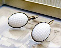 White Retro Earrings, Vintage Repurposed Hobnail Dangle Earrings, Retro Jewelry, White Dangle Earrings, Kitsch Jewellery, White Jewelry