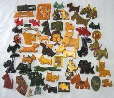 47 Piece Lot of Vintage Bakelite Dog Pins   eBay