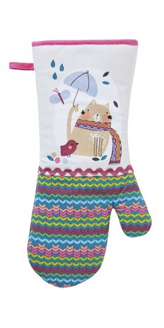 Oven gauntlet in cotton with cat print