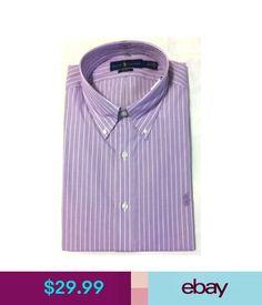 Dress Shirts Nwt,Men's Polo Ralph Lauren Button Down Stripes Slim Fit Dress Shirt-Purple/Wh #ebay #Fashion