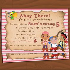 Jake and the Neverland Pirates Girl Invitation - for Audrey