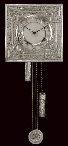 MARGARET GILMOUR; WALL CLOCK c. 1910, nickel-plated, with repoussé Celtic entrelac design carved monogram and signed to reverse 'Dr Prentise East Cliff'her indecipherable marks.