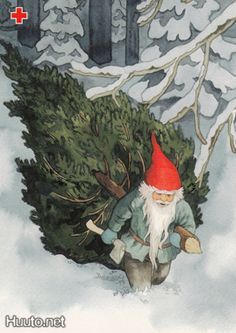 Bringing Home The Tree by Inge Löök, Finnish illustrator, Born: 1951 .