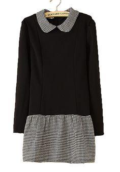 / Black Patchwork Plaid Turndown Collar Cotton Blend Dress