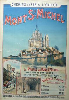 ✨  Gustave FRAIPONT - Mont St Michel Chemin de fer de l'ouest, 1895. Printer: F et M MOREAU - PARIS