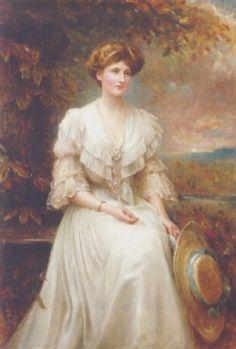 """""""Portrait of Lady Dorothy Meynell,"""" 1909 -- by Edward Hughes (British, 1832–1908)"""