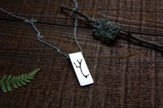 Antler necklace Deer antler jewelry Silver antler by tanukdolotova