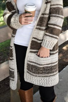 Crochet cardigancrochet patternchunky cardiganinseam pocketslong cardiganthe can Cardigans Crochet, Crochet Clothes, Chunky Cardigan, Knit Cardigan, Crochet Stitches, Knit Crochet, Crochet Style, Knitting Patterns, Crochet Patterns